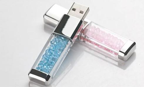 Флешка голубая Crystalline