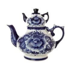 Заварочный керамический чайник с росписью Гжель
