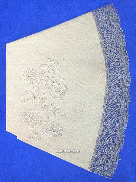 Льняная круглая скатерть с вышивкой Вологодское кружево