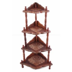 Резная четырёхъярусная деревянная этажерка с инкрустацией