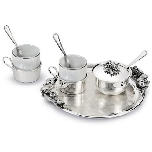 Набор для кофе ТЕТ-А-ТЕТ на 2 персоны, серебро