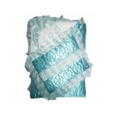 Зимний комплект на выписку с атласным одеялом и подушкой
