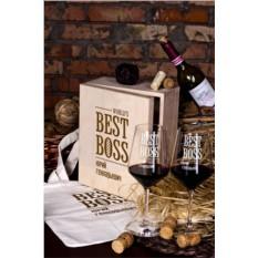Подарочный набор бокалов с именной гравировкой Best Boss