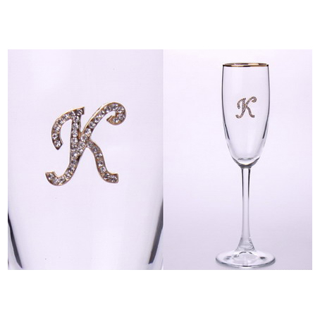 Бокал для шампанского «К» с золотой каймой