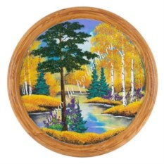 Панно из каменной крошки на тарелке Осенний пейзаж (50 см)