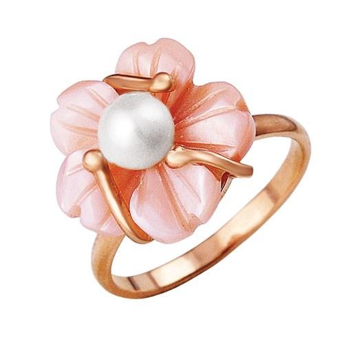 Позолоченное кольцо с розовым перламутром и жемчужиной