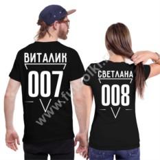 Парные футболки для двоих с именем и номером