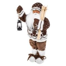Коричневое украшение Дед Мороз с лыжами и фонариком