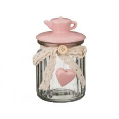 Розовая банка с керамической крышкой