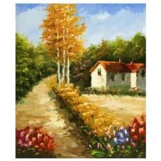 Картина-раскраска по номерам на холсте Дом в лесу