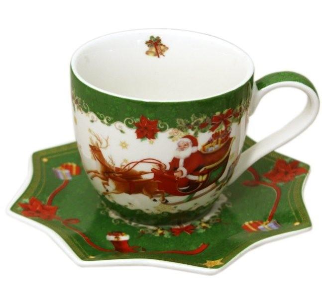 Чашка с блюдцем С Новым годом зеленая