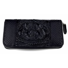 Черный кошелек-клатч из кожи крокодила и питона