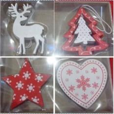 Набор новогодних украшений Олень, Елка, Звезда, Сердце
