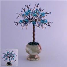 Миниатюрное дерево счастья из топаза в вазочке из оникса