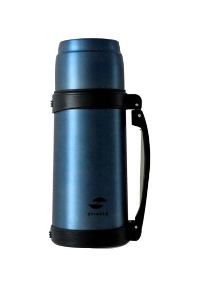 Стальной широкий матовый термос Stinger 1 л синего цвета