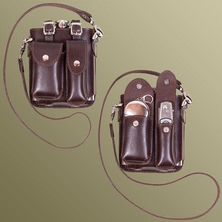 Набор в кожаном чехле (фляга, нож и два складных стакана)
