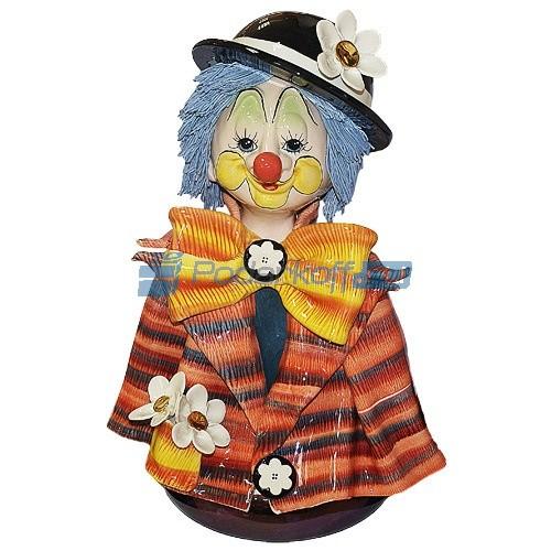 Скульптура - бюст Клоун в котелке с цветком