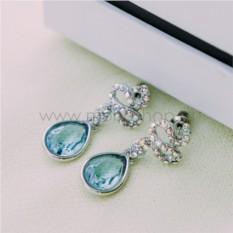 Серьги с голубыми кристаллами Сваровски «Коварство»