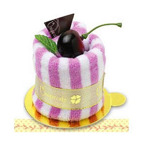 Полотенце-пирожное Вишня полосатое