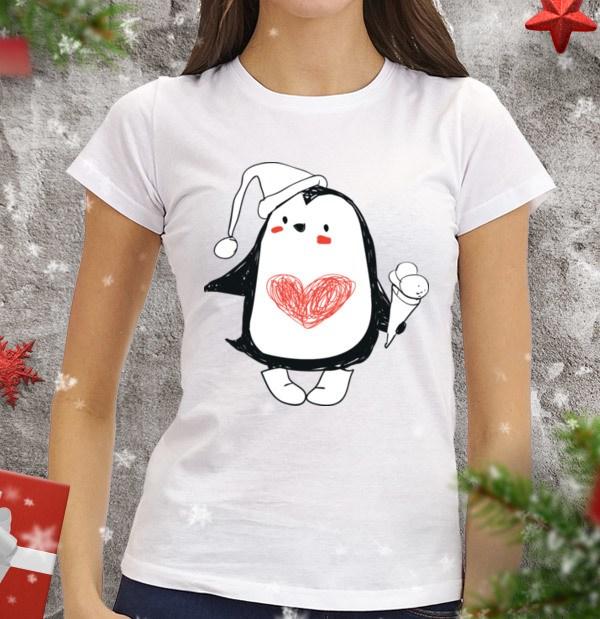 Женская футболка Пингви с мороженым