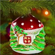 Елочная игрушка «Домик-грибок»