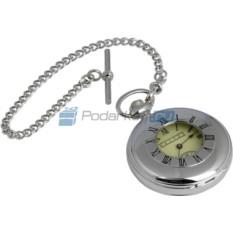 Карманные механические часы Охотника на цепочке с окошком