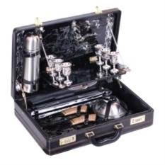 Черный кожаный подарочный набор на 6 персон «Престиж»