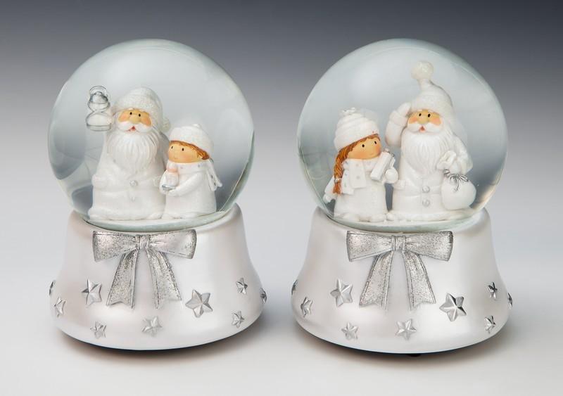 Уотерболл музыкальный Дед мороз со снегурочкой, серебряный