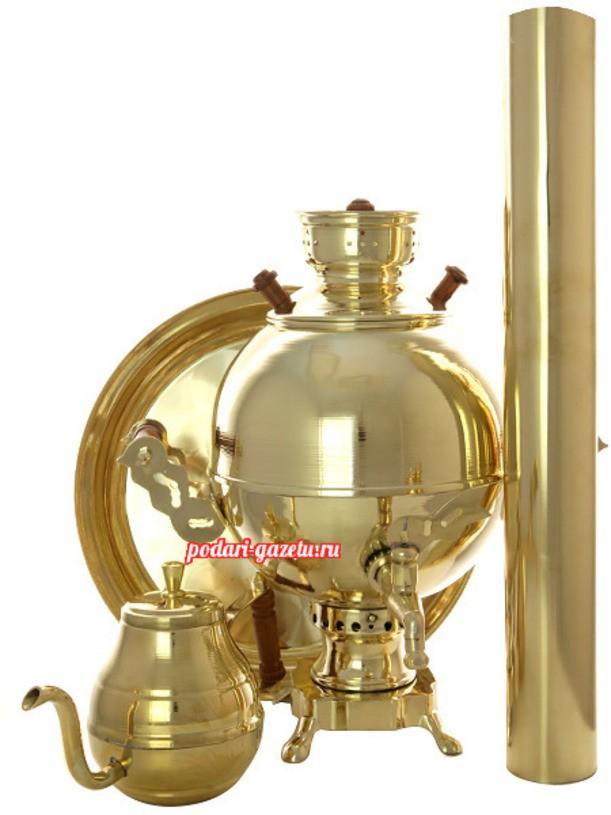 Латунный набор с угольным самоваром Чаепитие-шар