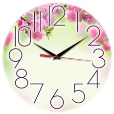 Круглые часы с крупными цифрами Весна. Розовые цветы