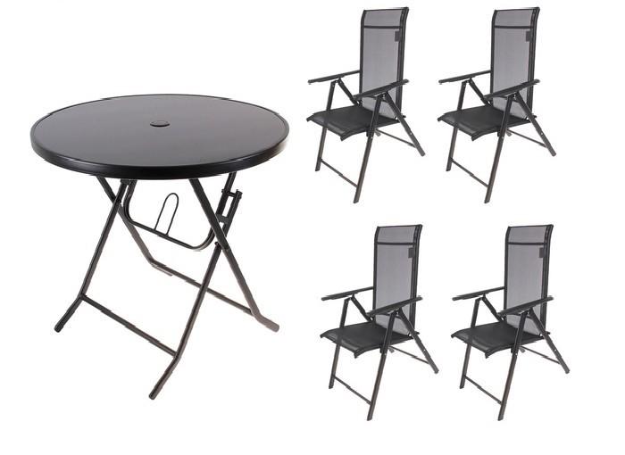 Набор мебели для дачи и отдыха, черный