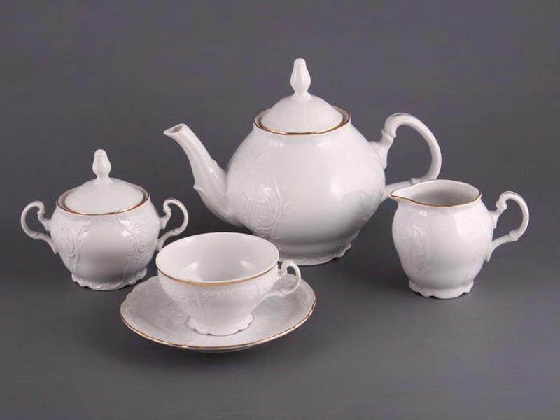 Чайный сервиз на 6 перс.15 предм.белый бернадотт
