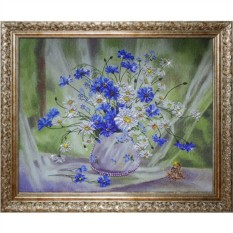 Картина с кристаллами Swarovski Васильки с ромашками