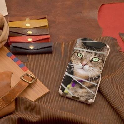 Кожаный чехол-флип для iPhone 6S/6 с фото Зеленоглазый кот