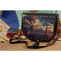 Женская кожаная сумка-седло Воздушный шар над городом