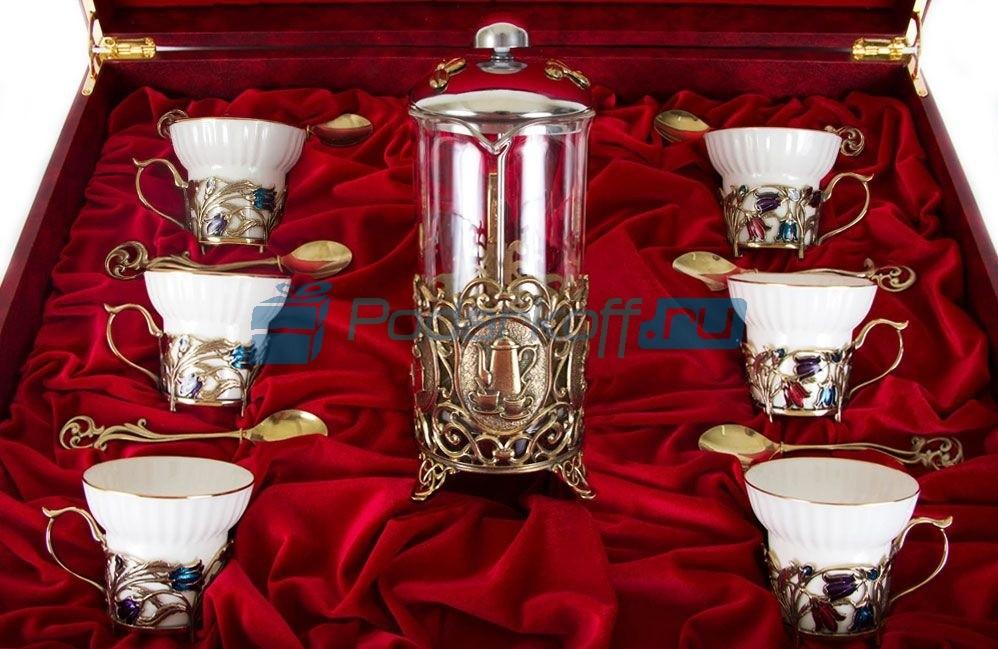 Чайный сервиз с френч-прессом на 6 персон Беседа