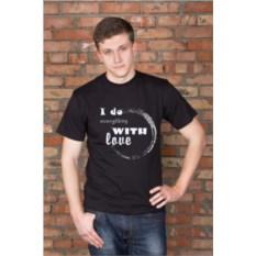 Черная мужская именная футболка With love