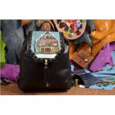 Женский черный кожаный рюкзак Зимние каникулы