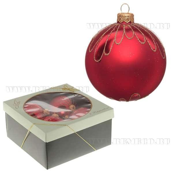 Набор из 4-х стеклянных новогодних шаров