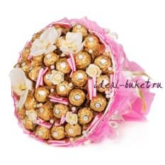 Розовый букет из конфет Фантазия
