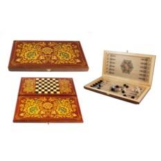 Настольная игра Хохлома: нарды, шашки, размер 40х20 см