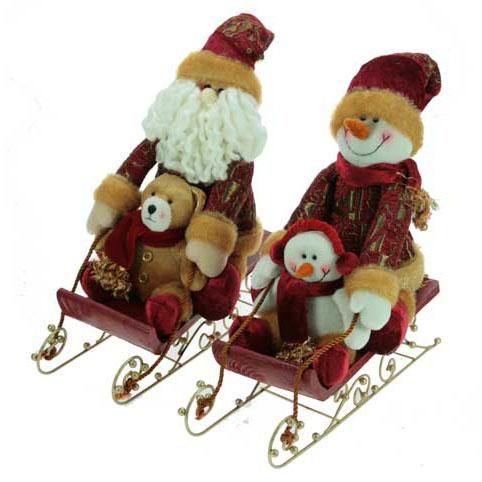 Сувенир «Дед Мороз и Снеговик на санках»