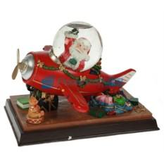 Новогодняя композиция с водяным шаром Самолет Деда Мороза