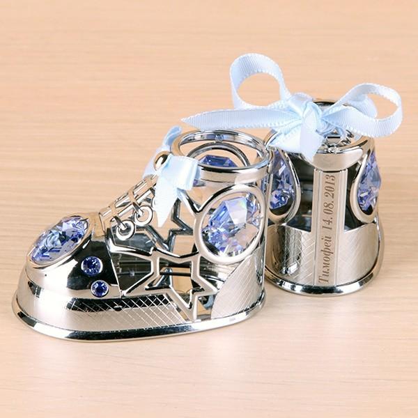 Сувенир на рождение с кристаллами с именной гравировкой