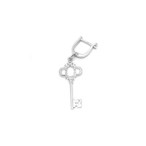 Серебряная серьга в виде ключа