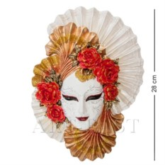 Венецианская маска Пионы (цвет: бело-золотой)