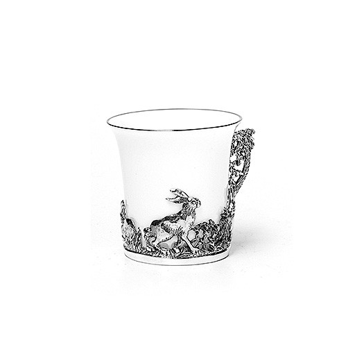 Чашка кофейнаяиз серебра Зайцы