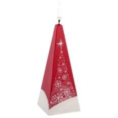 Свеча ручной работы «Снежный лес» в форме пирамиды