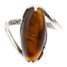 Кольцо из мельхиора в посеребрении с тигровым глазом Елана