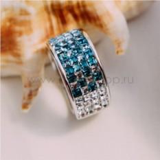 Кольцо с голубыми кристаллами Сваровски «Рассвет»